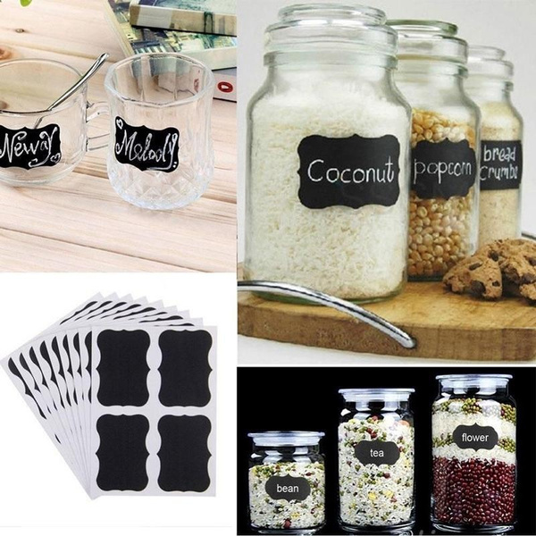 Wish 36 Pcs Mini Rectangle Waterproof Chalkboard Labels Reusable Blackboard Stickers For The Office Message Kitchen Pantry Mason Jars Wine Gles And