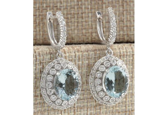 925 Sterling Silver Natural Gemstone aquamarine Stud Hoop Earrings Wedding Engagement Jewelry