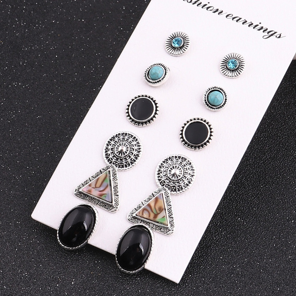 Picture of Black 6pair/set Rhinestone Vintage Turquoise Earring Set Fashion Natural Stone Oval Earrings Jewelry Set