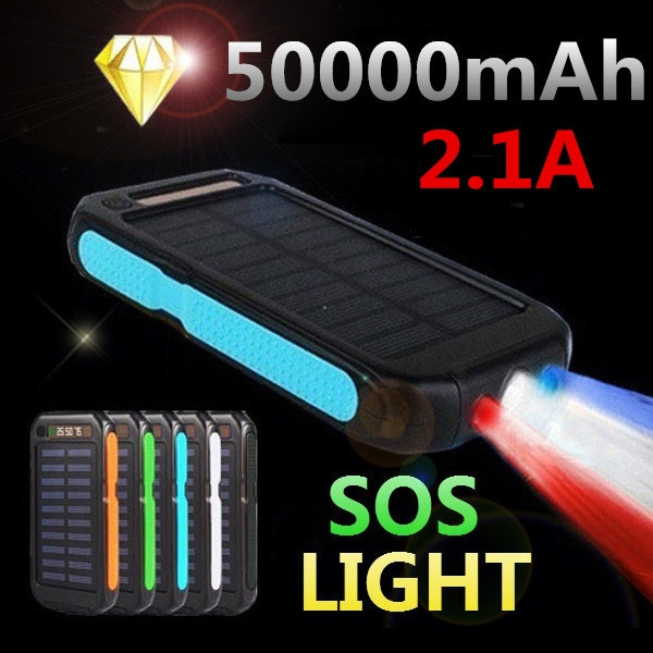 Picture of 50000mah Portable Solar Power Bank Charger External Battery Dual Usb +3led Light.