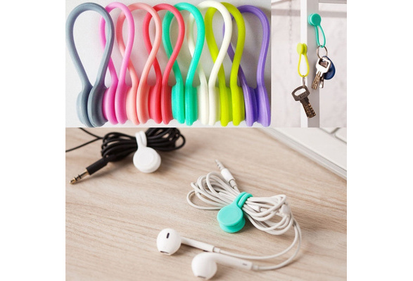 10pcs Multifunction Magnetic Cable Holder Organizer Earphone Cord Winder Clips