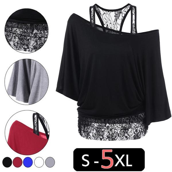 blouse, lace trim, off shoulder top, Plus Size