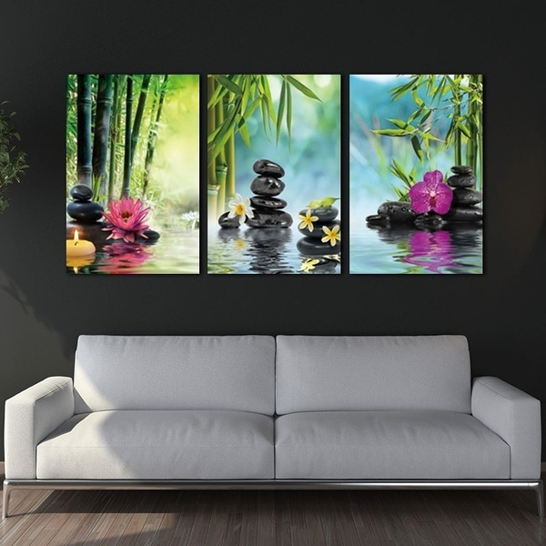 Canvas Painting Print 3 Panels Spa Series Of Stone Flowers Green Bamboo  Wall Art Picture Wall Decorations Home Decor Paintings for Living Room Home