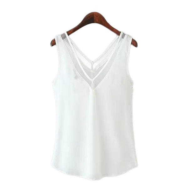 V-neck T-shirt Vest Gauze Solid Women's Sleeveless Casual Loose Chiffon Blouse