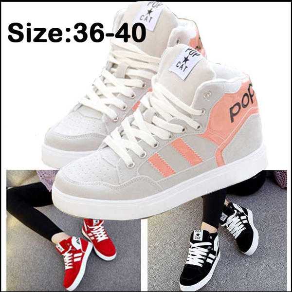 Picture of Fashion Women's High Top Canvas Shoes Female Wedge Casual Flats Breathable Spring Summer Lace-up Shoes