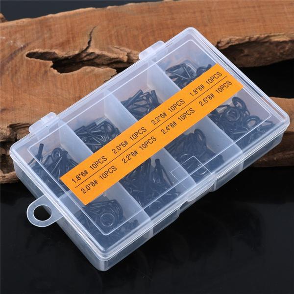 Geek | 80pcs Gun Color Fishing Rod Guide Guides Tip Set Repair Kit DIY Eye Rings Different Size Stainless Steel Frames