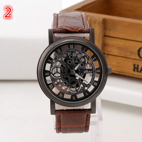 Picture of Man And Women Fashion Leather Hollow Stainless Steel Quartz Watch
