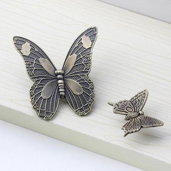 Antique Butterfly Cupboard Door Knobs And Handles Kitchen Cabinet