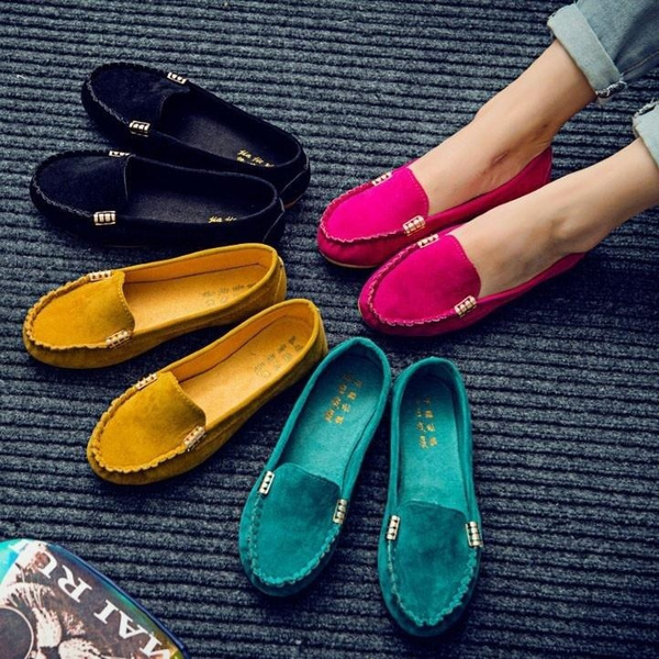Picture of Fashion Women's Flats Shoes Fashion Comfy Ballet Shoes Cute Slip-on Low Heel Boat Shoes