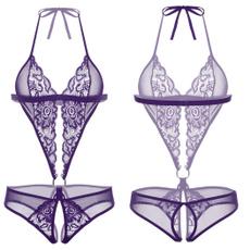 Lace, Halter, onepiece, cutoutbodysuit