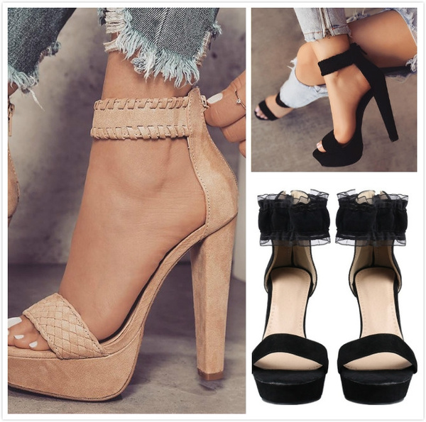 clearance prices wholesale sale 2018 New Women's Ankle Strap Back Zipper Peep Toe High Heel Platform Pump  Shoes Peep Toe High Heels Casual Shoes for Work