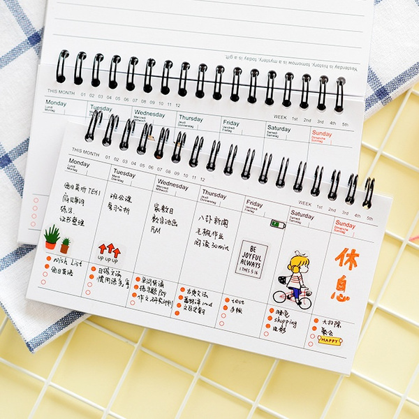 Kawaii Cute Panda Pvc Daily Weekly Planner Spiral Notebook Day Plan Diary  Notebook Time Organizer School Supplies Agenda