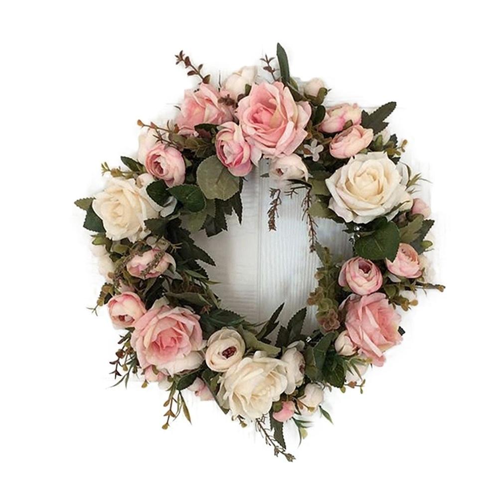 Us 33cm Artificial Wreath Rose Flower Garland Door Window Hanging