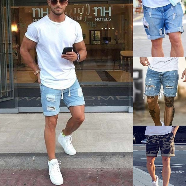 d8b8381395 Plus Size Style 2017 Summer Men Short Jeans Men's Fashion Denim ...
