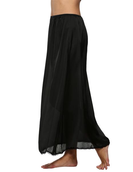 Wish Avidlove Women Satin Solid Lace Trim Maxi Half Slip