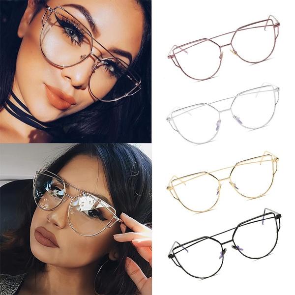 Picture of Fashion Women Cat Eye Clear Lens Glasses Luxury Silver Metal Eyeglasses Alloy Frame Sexy Girls Eyewear Vintage Aviator Oversize Plain Mirror Sunglasses