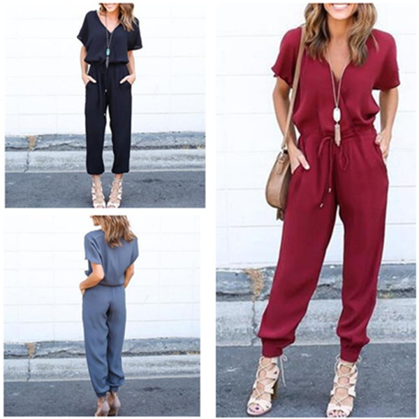 Picture of Women Fashion Jumpsuit Sexy V-neck Cross-straps Rompers Bodysuit