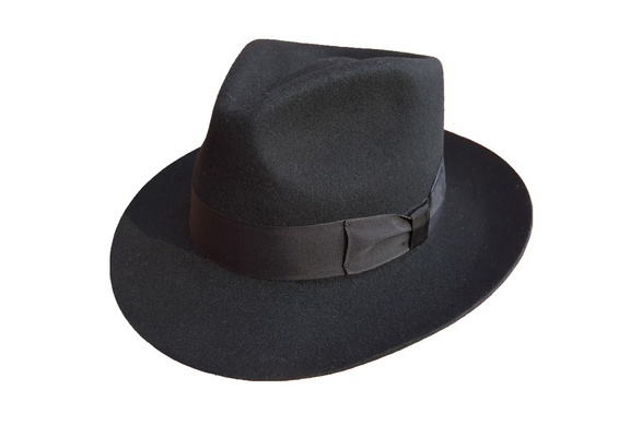 3f318259add Classic Black Mens Wool Felt Godfather Gangster Mobster Gentleman Fedora Hat