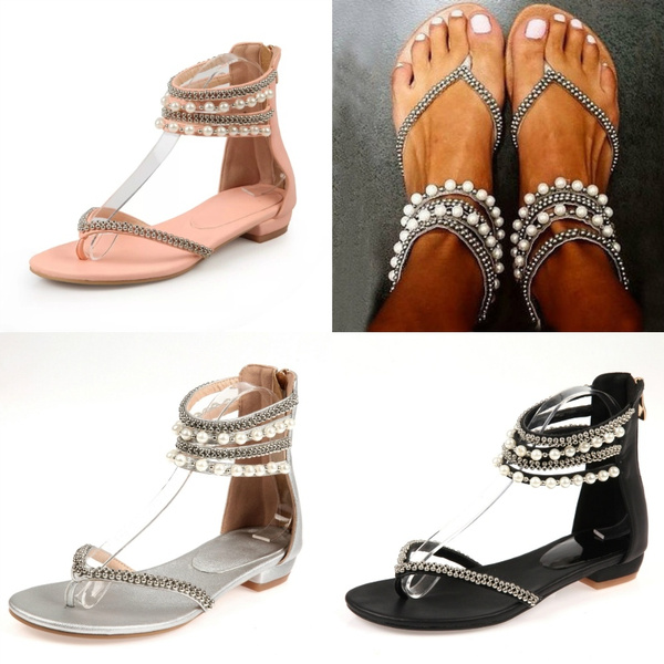 Picture of New Women Fashion Brand Sexy Open Toed Sandals Beading Rhinestone Thong Women's Flat Flops Sandals