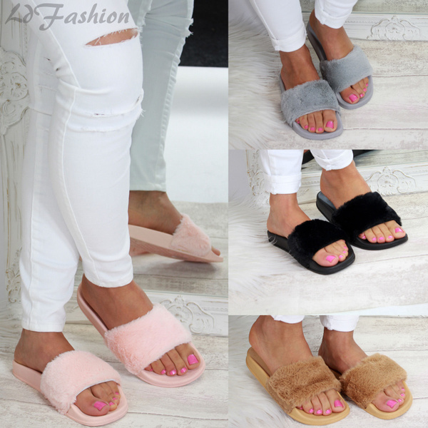Picture of Womens Comfy Faux Fur Rubber Slip On Sliders Flip Flops Slippers Flat Shoes