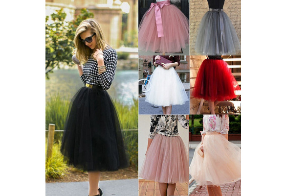 Women Girls Princess Ballet Tulle Tutu Skirt Wedding Party Evening Prom Rockabilly Mini Dress