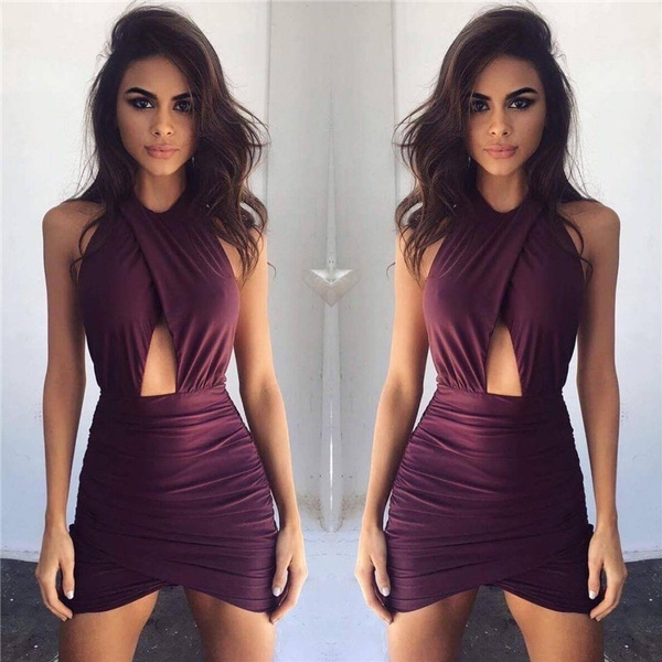 Picture of Sexy Women Party Dresses Slim Backless Sleeveless Package Hip Wrap Dress