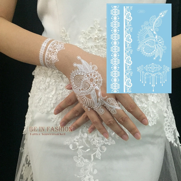 151eb8893fab 1piece Indian Arabic white henna tattoo paste lace designs wedding ...