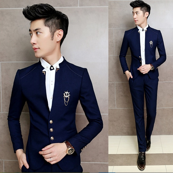 best wholesaler pretty and colorful newest 2017 Slim Fit Costume Tuxedo Tailored Men Chinese Collar Suit Party Dress  Mens Suits Wedding Groom For Men Costume Homme Mariage