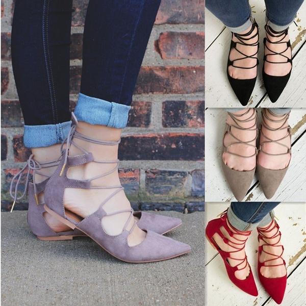 Picture of Women Fashion Sexy Lace Up Flat Sandals Pointed Shoes