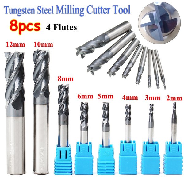 8pcs 4 Flutes Carbide End Mill Set 2-12mm Tungsten Steel CNC Cutter Milling Tool