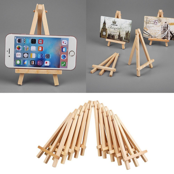 10pcs Mini Artist Wooden Easel Wood Wedding Table Artwork Name Card Stand Display Holder For Party Decoration 8 15cm