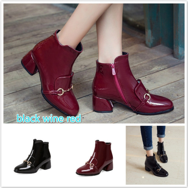 8acf33620 Chain Women Boots Patent Leather Ankle Boots Sexy High Heels ...