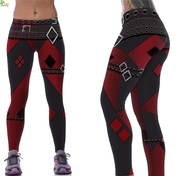 ebe665afa Fitness Workout Yoga Leggings Red Harley Quinn Sports Skinny Tights ...