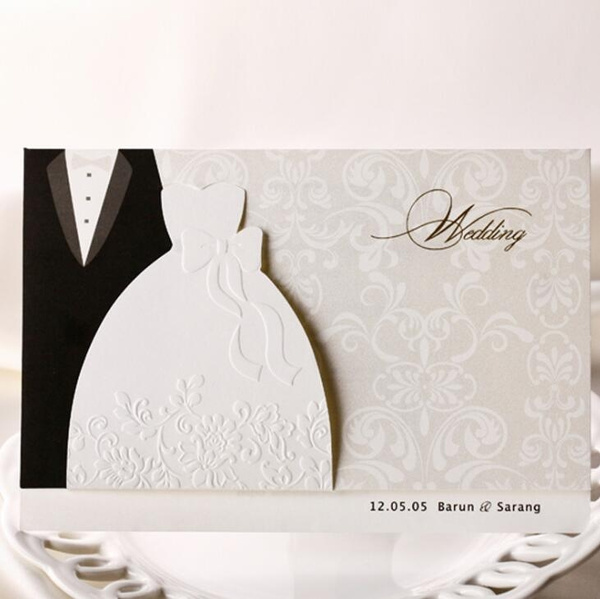Laser Cut Wedding Invitations Cards Groom Bride Clothes Evening Dress Style Formal Paper Cards Elegant 50pcs Lot