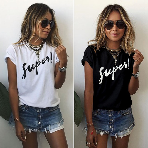 Picture of Women's Fashion Casual O Neck Letter Print T Shirt Summer Plus Size Tops