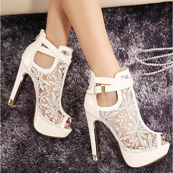 Picture of New Lace Women Platform Pumps Sandals White Mesh Black High Heels Peep Toe Shoes