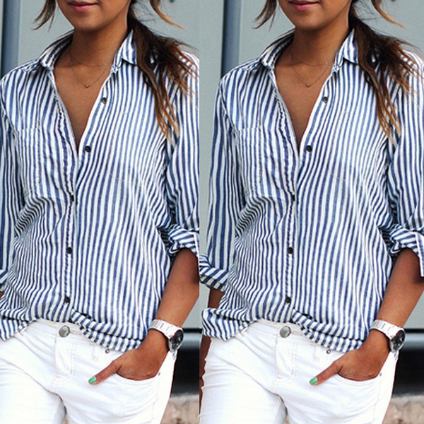 Picture of S-6xl Women Long Sleeve Button Down Collar Blouse Striped Tops T Shirt Short Lapel Tops