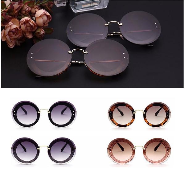 Women, Designers, rimlesssunglasse, Round Sunglasses