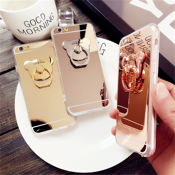 Picture of Cartoon Bear Mirror Phone Case Ring Stand Phone Cases Cover Iphone 7 7plus 6 6plus Back Cover