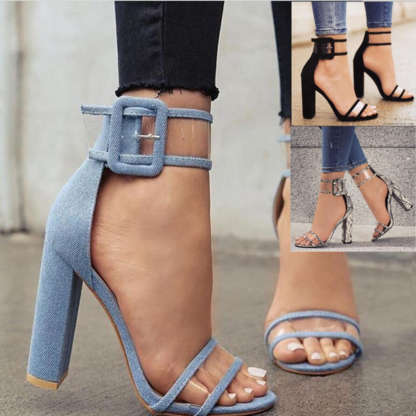 Picture of Transparent Thick Sandals Denim Blue Women Sandals 3 Color Fashion Sexy High Heels Concise Women Sandals