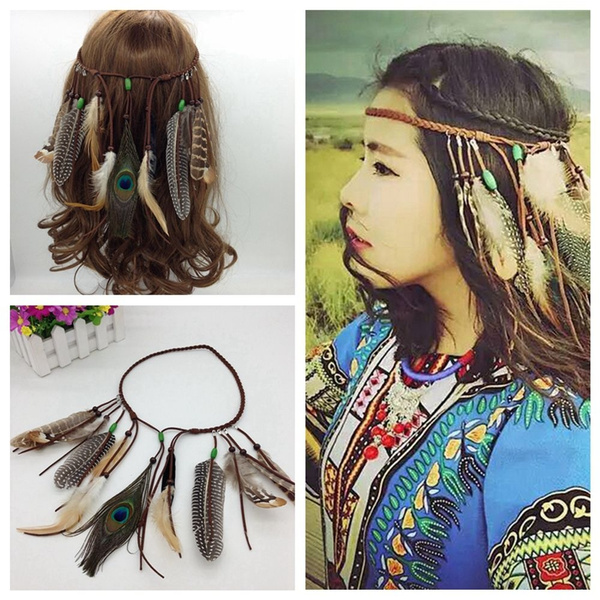 Party Peacock  Feather Headdress Carnival Headband Weave Hair Rope Headpieces