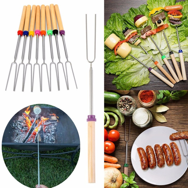 BBQ Skewers Forks Telescopic Stainless Steel Sticks Barbecue Wooden Handle Tools