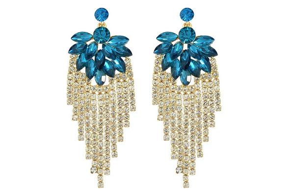 Elegant Imitation Crystal Big Chandelier Wedding Earrings