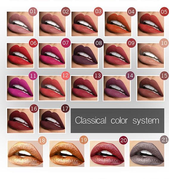 Picture of Brand Pudaier 21 Colors Lip Gloss Cosmetics Long Lasting Pigment Metallic Sexy Red Lip Tint Velvet Matte Nude Liquid Lipstick