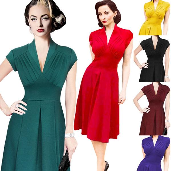 d3923e569 Fashion Women Summer Dress Retro 1950s 60s Vintage Dresses Vestidos ...