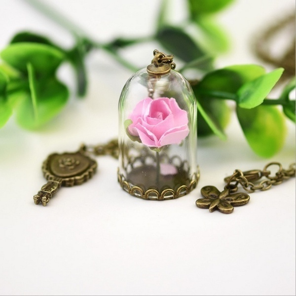 Enchanted Rose Inspired STOCK Dome from Beauty and the Beast Romantic Dried Flowers Glass Bronze Long Chain Necklace 7 Colors US in Yourbeauty