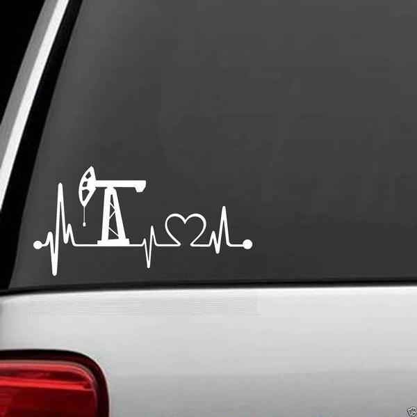 Oilfield Heartbeat Lifeline Monitor Decal Sticker Car Truck SUV HARD HAT
