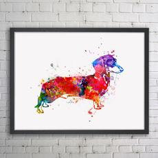 Decor, nurserypetart, art, sausagewatercolorart
