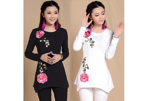 2017 NEW Fashion Elegant Women's embroidered Irregular Hem Cotton Long Sleeves T-shirt Chinese style T shirts Tops