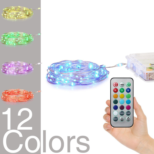 Led String Lights Battery Powered Multi Color Changing String Lights With Remote 50leds Indoor Decorative Silver Wire Lights For Bedroom